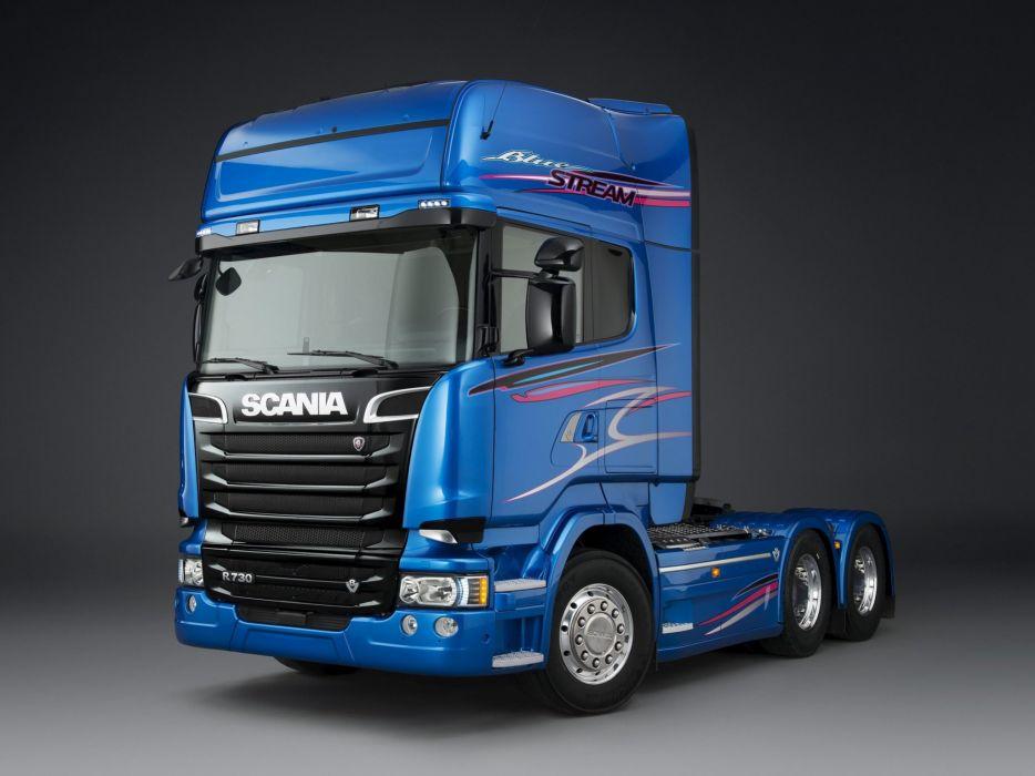2014 Scania R730 6x2 Blue Stream semi tractor    f wallpaper