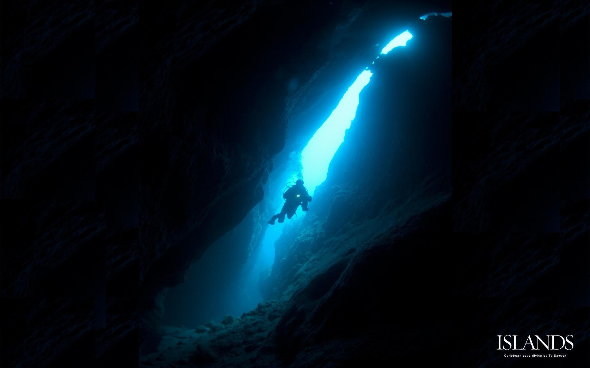 Scuba diving diver ocean sea underwater cave wallpaper ...
