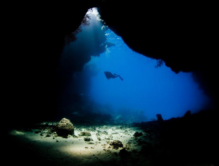 Scuba Diving Diver Ocean Sea Underwater Cave Wallpaper