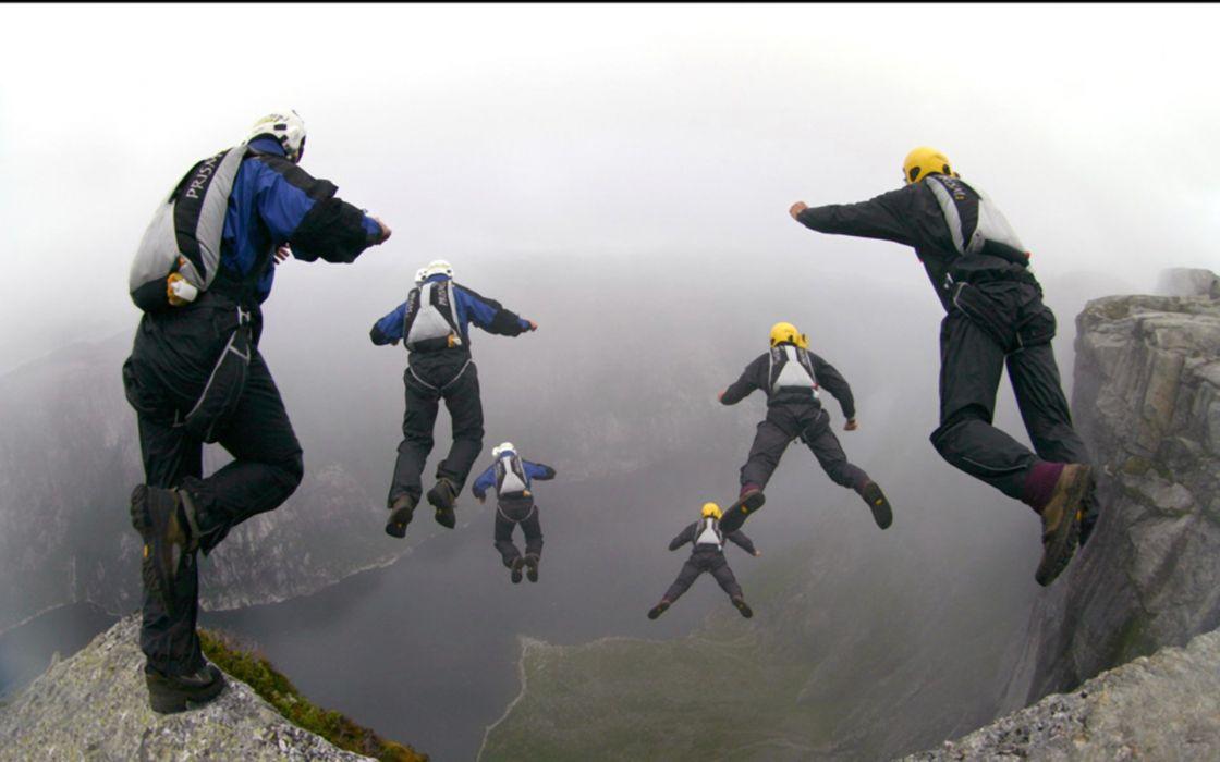 base jumping jump fly flight extreme dive diving sky (23) wallpaper