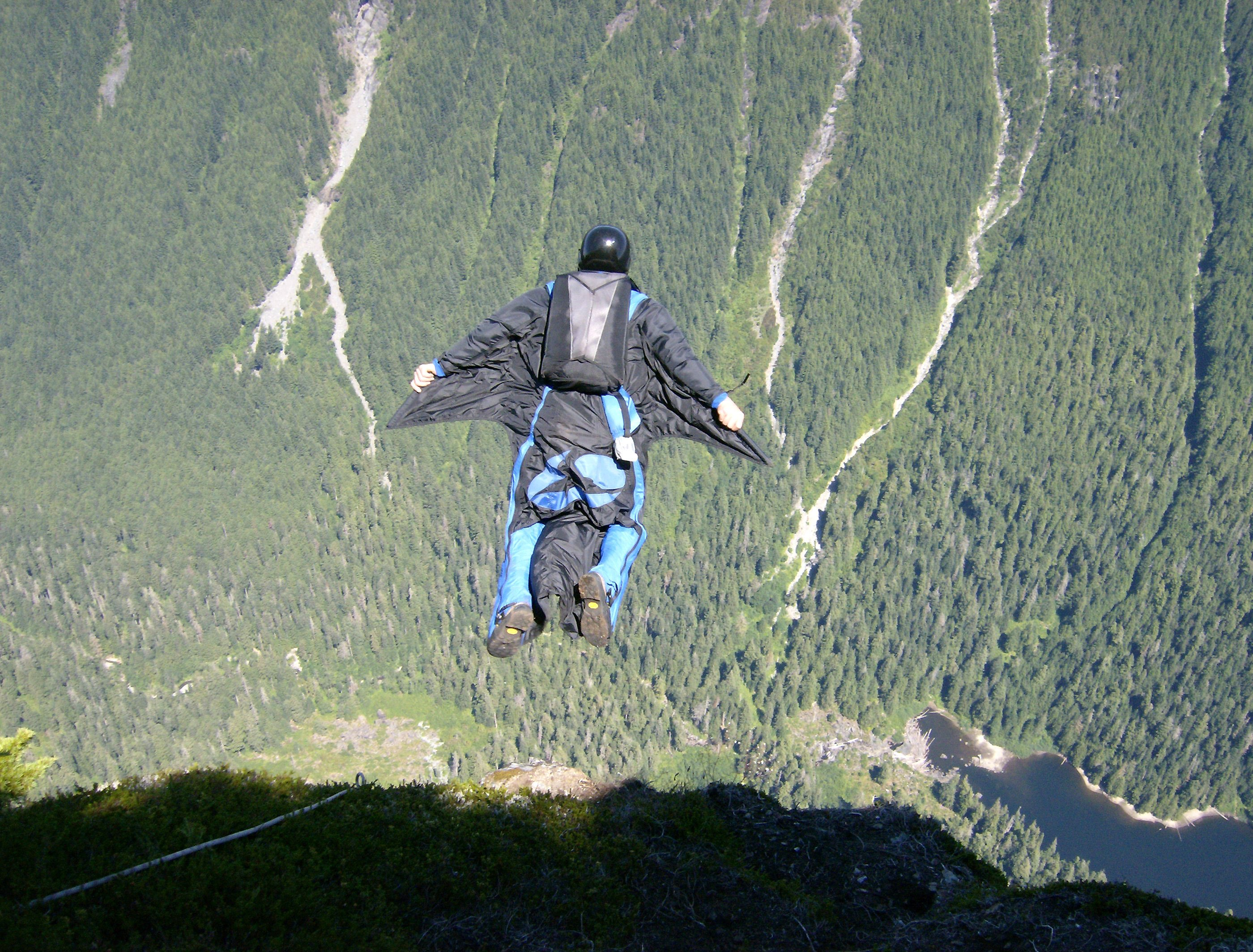 Base jumping jump fly flight extreme dive diving sky (16 ...