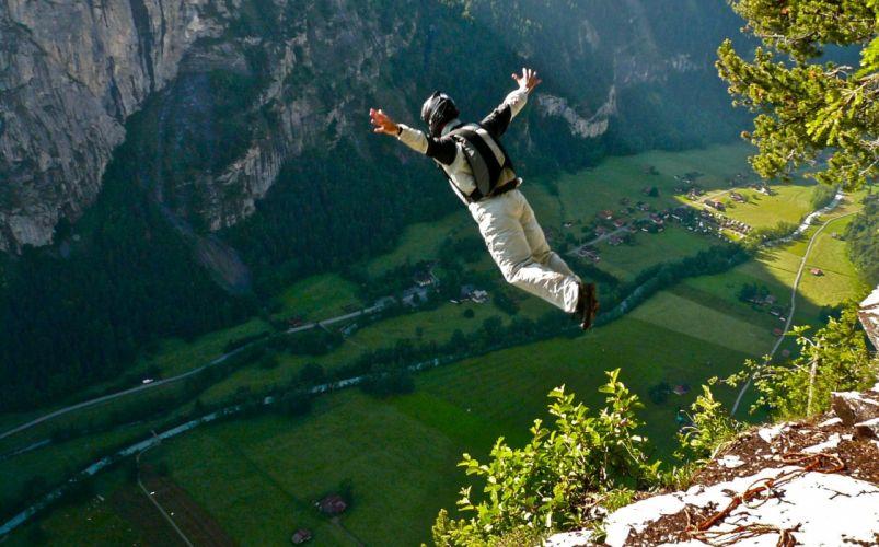base jumping jump fly flight extreme dive diving sky (6) wallpaper