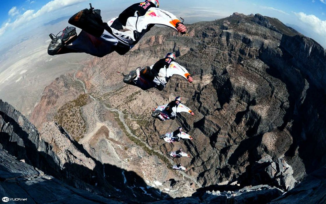 base jumping jump fly flight extreme dive diving sky (3) wallpaper