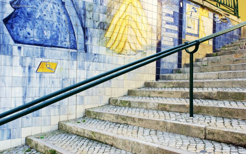 blue cityscapes stairways Portugal travel stairs tiles Lisbon wallpaper