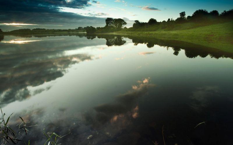 water clouds nature rivers sky wallpaper