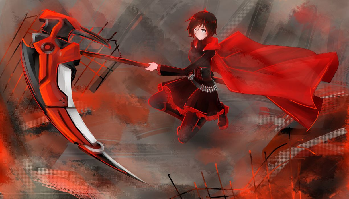 boots flowers scythe redheads skirts belts corset weapons jackets pantyhose short hair ammunition hoodies anime gray eyes roses coat anime girls bangs Ruby Rose RWBY wallpaper