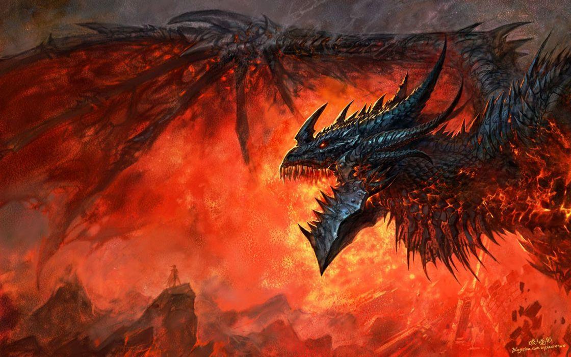 dragons World of Warcraft deathwing artwork World of Warcraft: Cataclysm Yaorenwo wallpaper