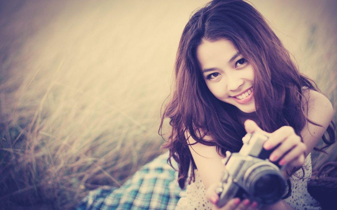 brunettes women cameras Asians smiling wallpaper