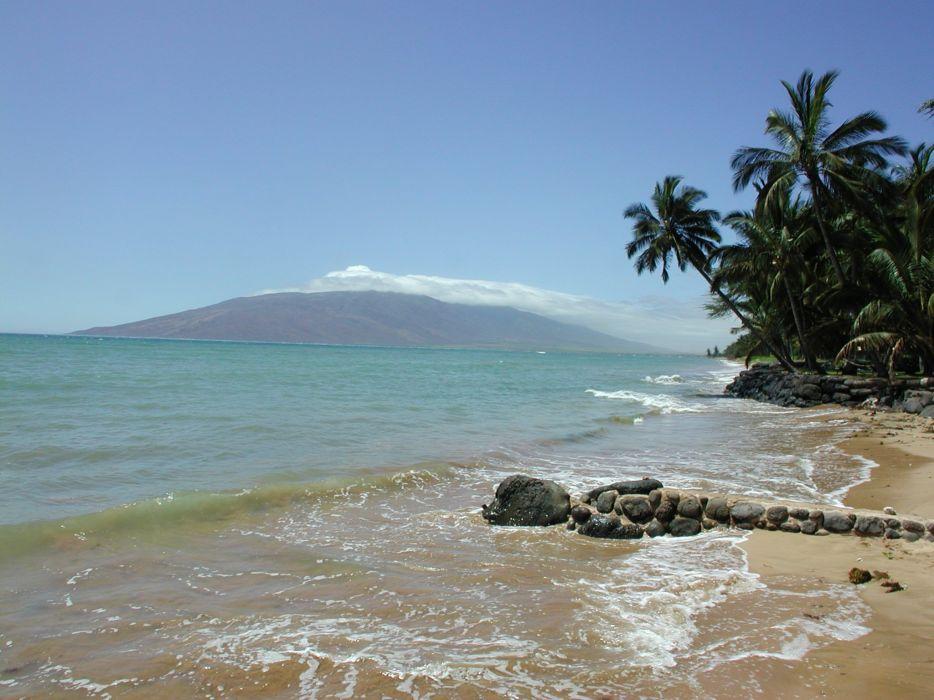 water mountains ocean nature trees rocks islands palm trees sea beaches wallpaper