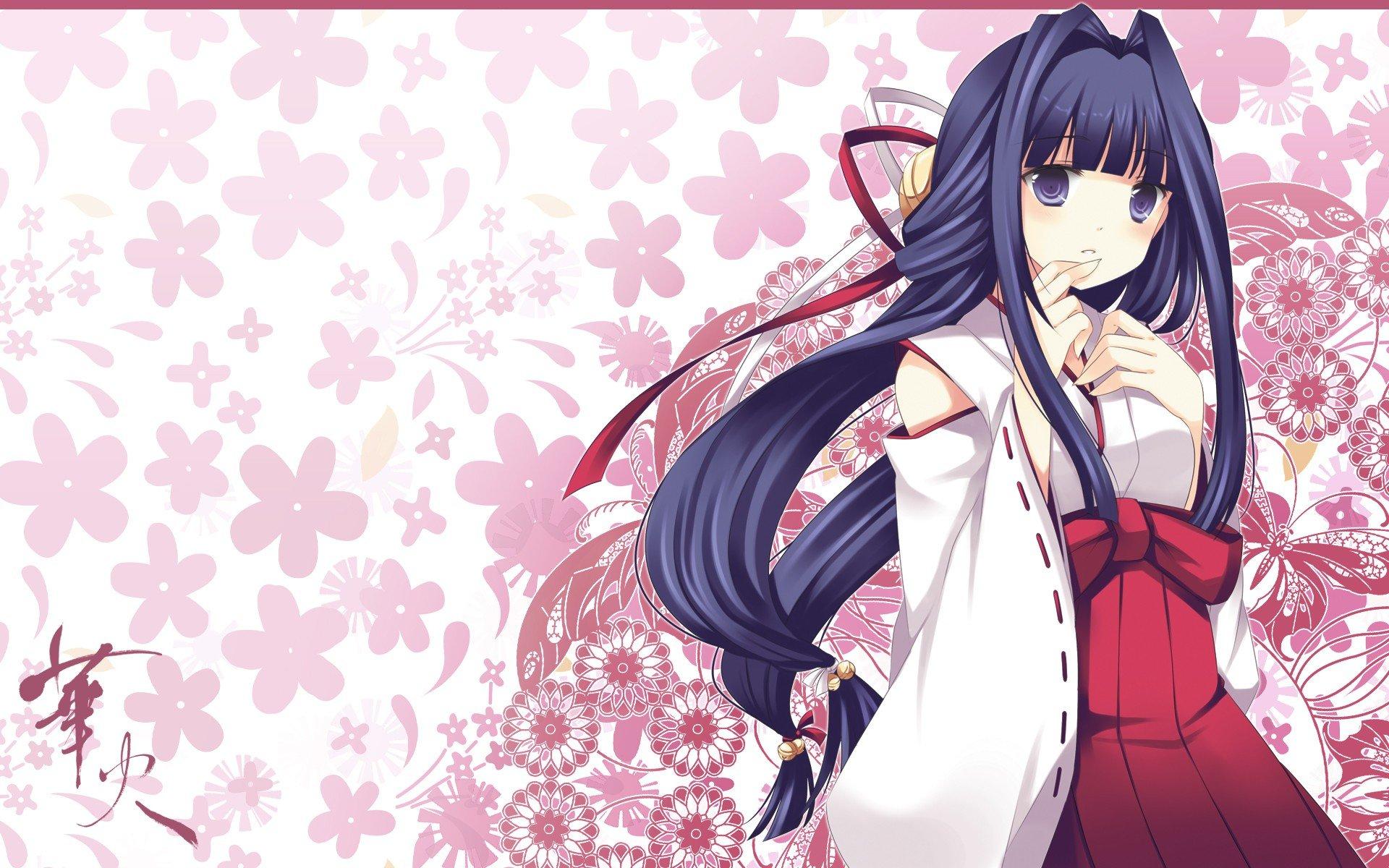 Flowers Long Hair Ribbons Miko Bows Anime Bells Purple
