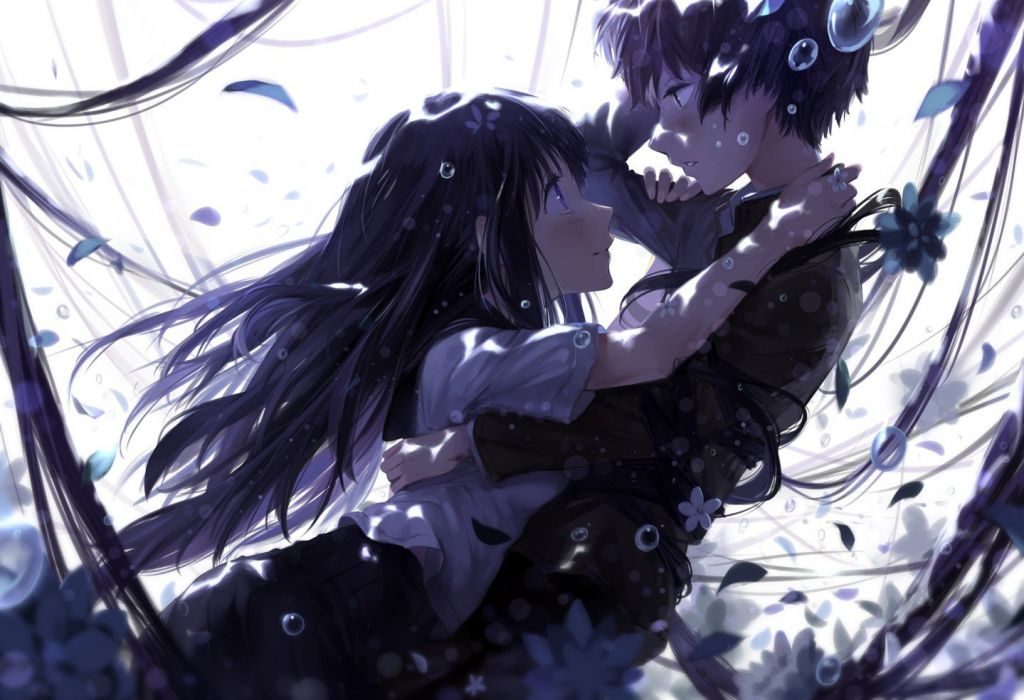 flowers long hair bubbles blush anime anime girls black hair Hyouka Chitanda Eru Oreki Houtarou wallpaper