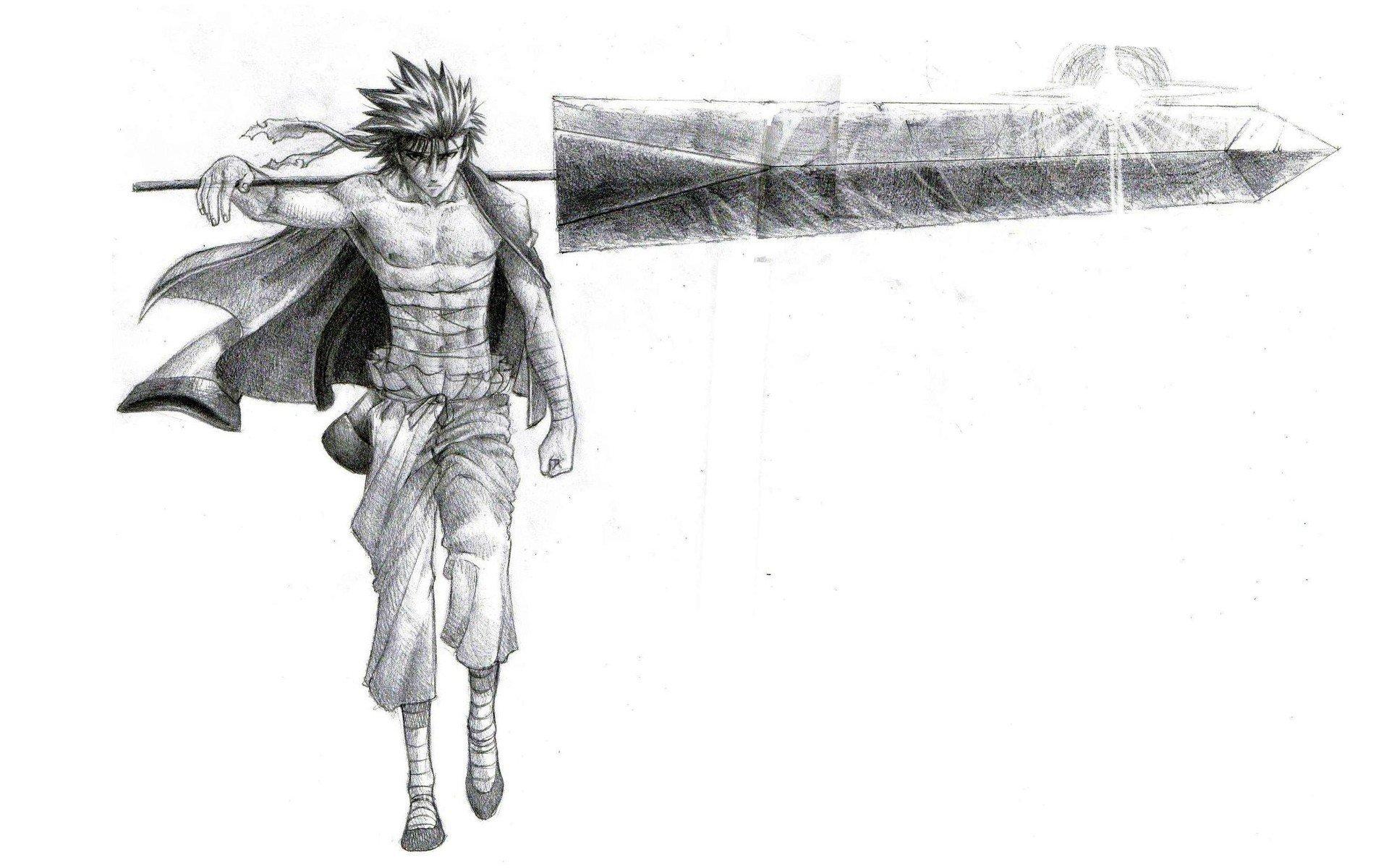 Rurouni Kenshin Drawings Simple Background Sanoskue Wallpaper