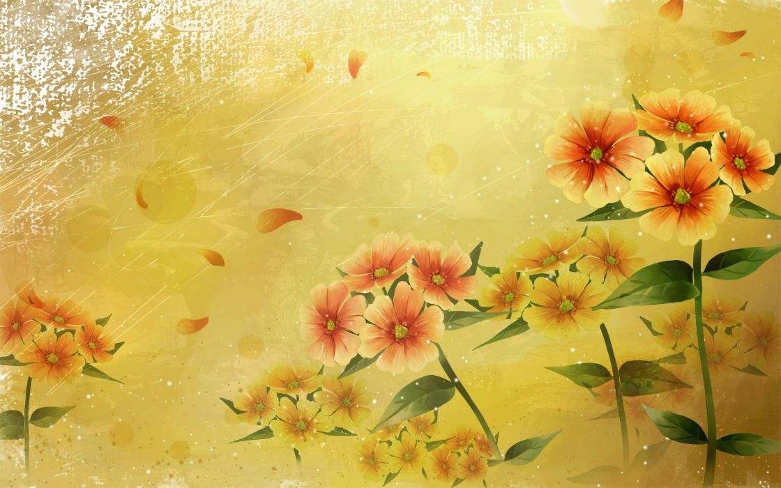 abstract flowers leaves wallpaper