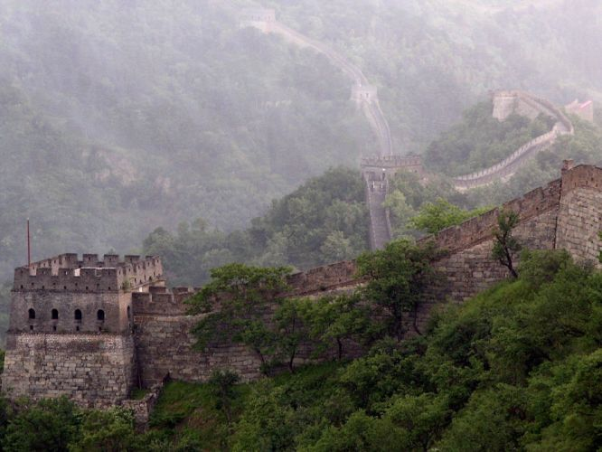 mountains castles trees stones fog mist the great wall wall of china wallpaper