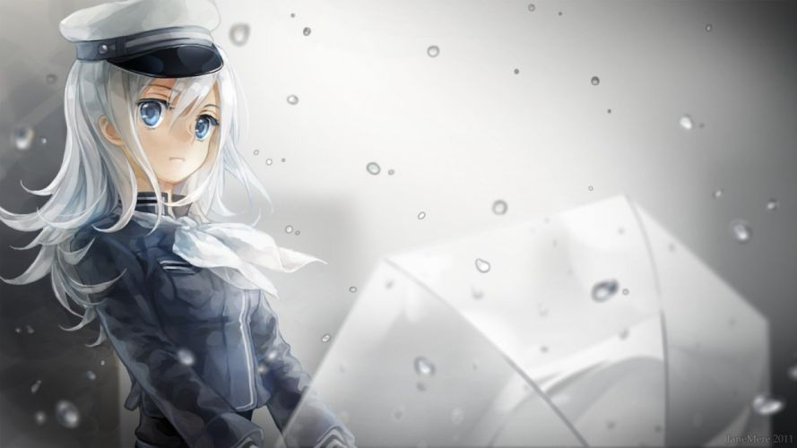 rain blue eyes umbrellas white hair anime girls wallpaper
