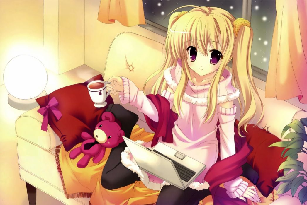 light blondes snow couch computers laptops pantyhose twintails game CG stuffed animals artwork drinks purple eyes Mitha anime girls wallpaper