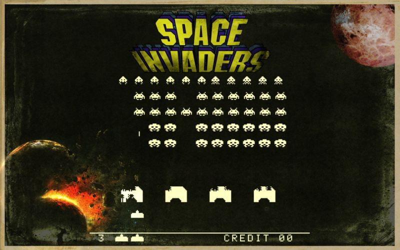 outer space stars vintage old planets school Space Invaders retro games wallpaper
