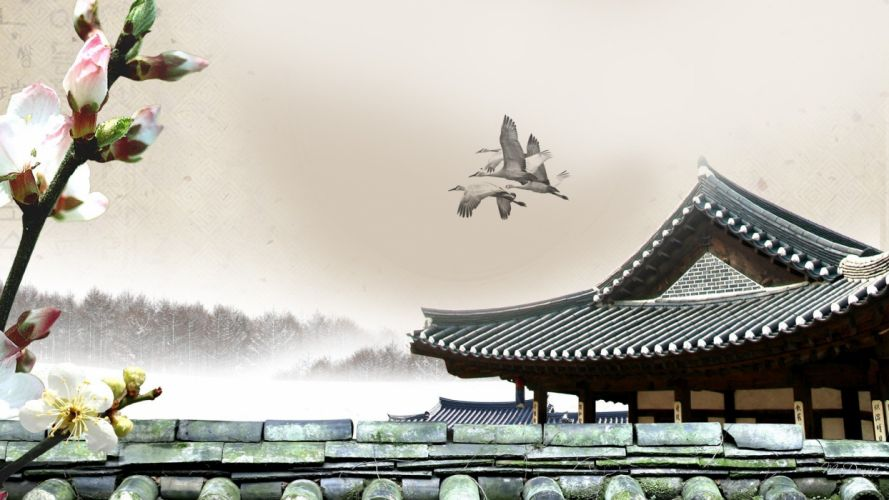 cherry blossoms fog mist pagodas oriental pagoda wallpaper