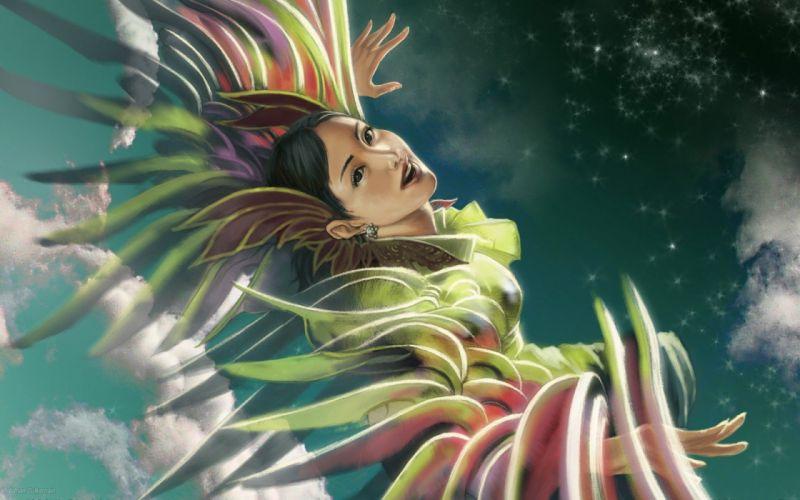 women birds fantasy art artwork wallpaper