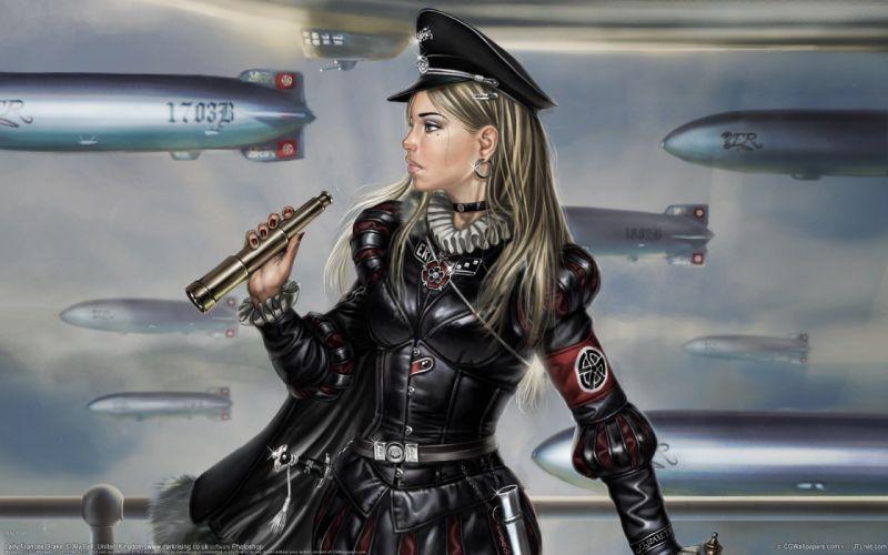 women uniforms weapons earrings vehicles zeppelin wallpaper