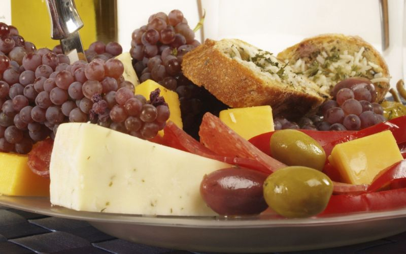 food cheese bread grapes olives wallpaper