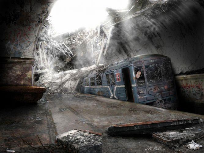 post-apocalyptic trains subway train stations sunlight digital art vehicles broken glass wallpaper