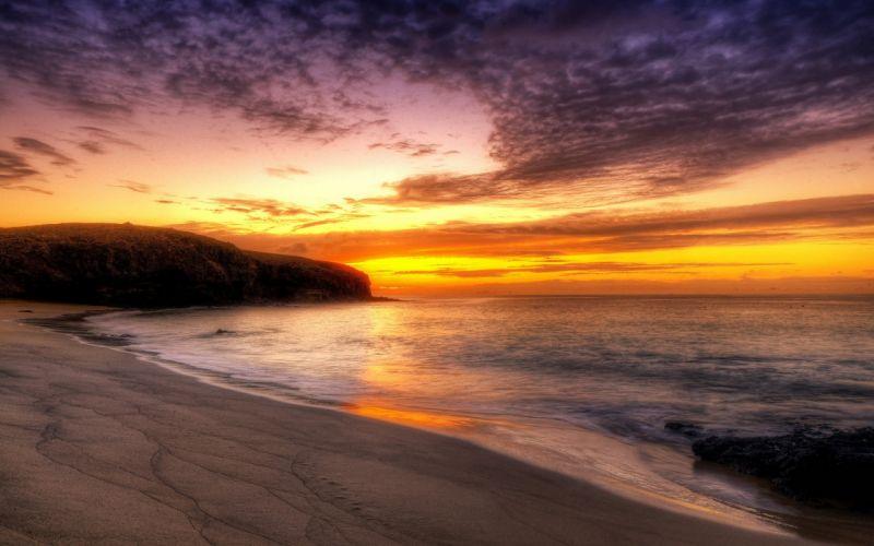 sunset ocean landscapes nature coast beaches wallpaper