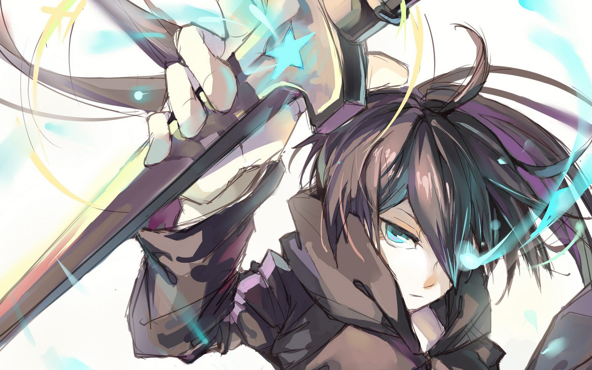 Black Rock Shooter Stars Blue Eyes Weapons Twintails Simple