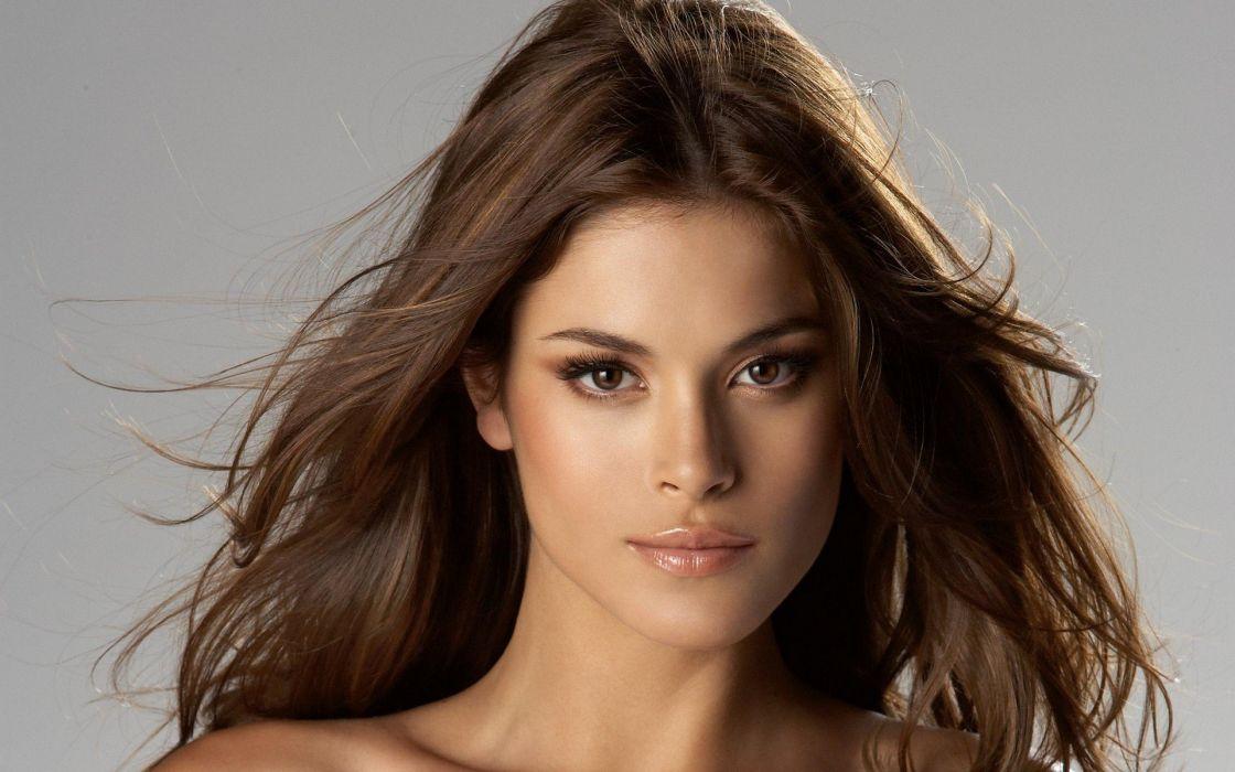 brunettes women lips brown eyes faces wallpaper