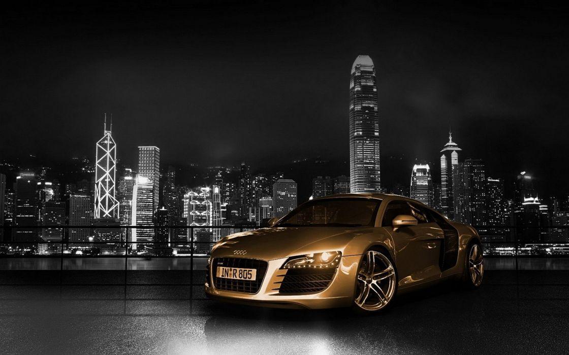 Cityscapes Cars Gold Audi Buildings Hong Kong German Cars