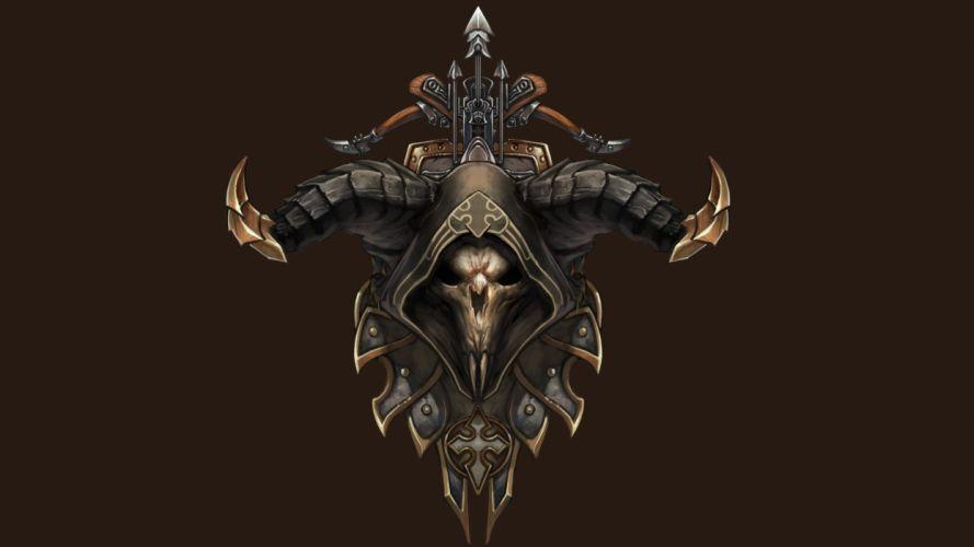skulls horns Demon Hunter Diablo III crossbows wallpaper