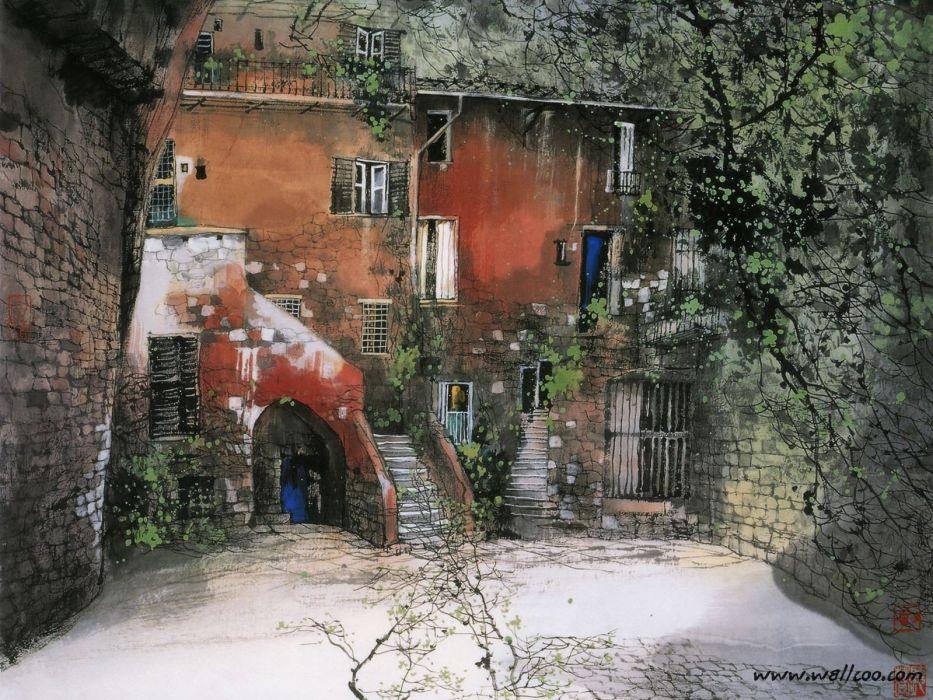 landscapes paint Italy liu wallpaper