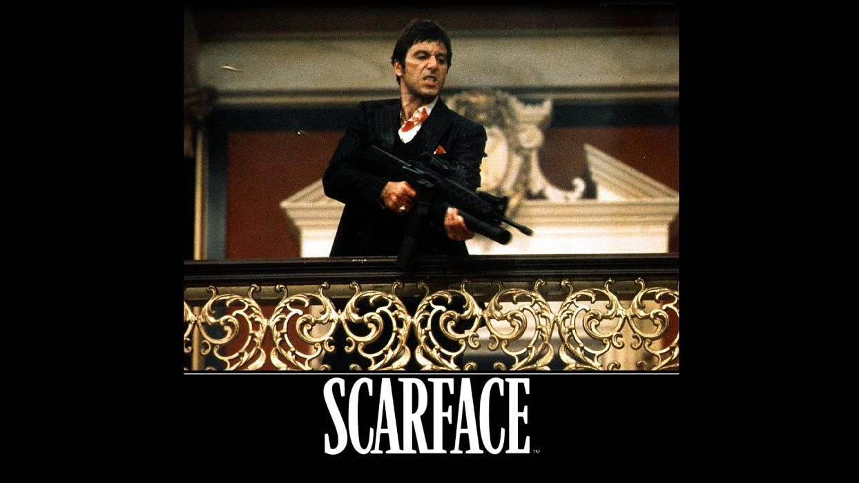 SCARFACE crime drama movie film poster dark weapon gun wallpaper