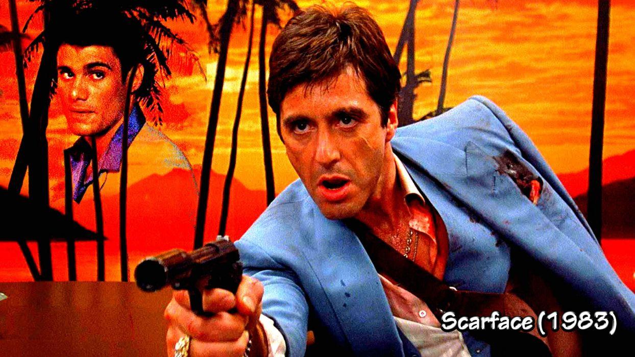 SCARFACE crime drama movie film weapon gun blood sunset dark wallpaper