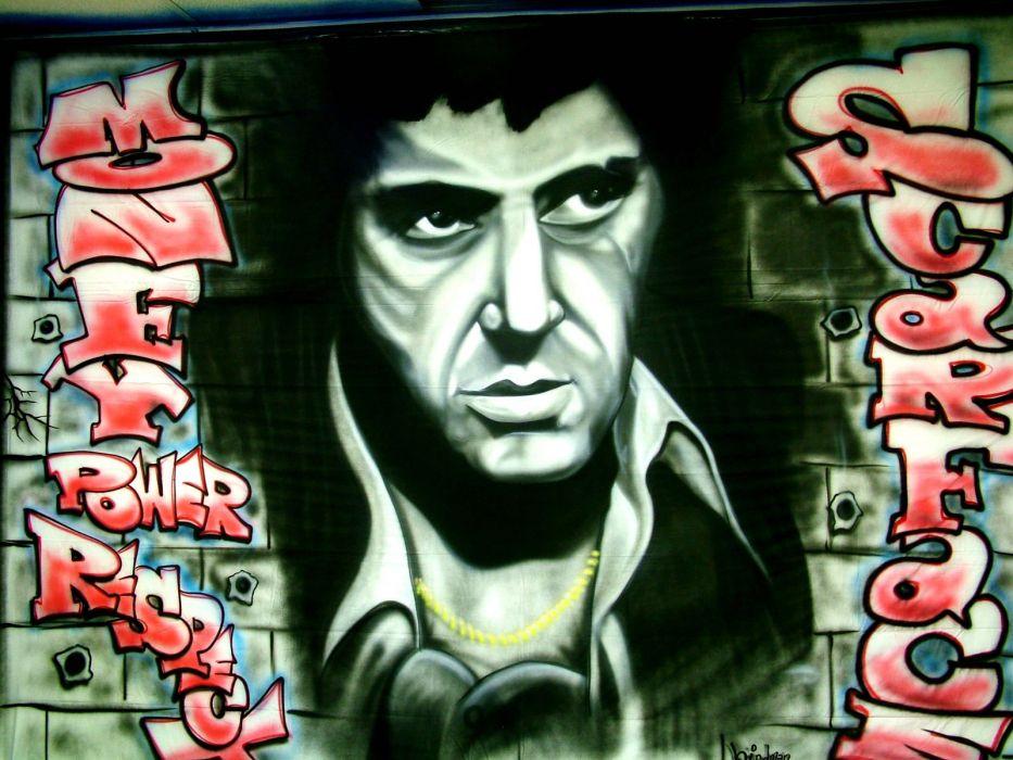 SCARFACE crime drama movie film poster graffiti wallpaper