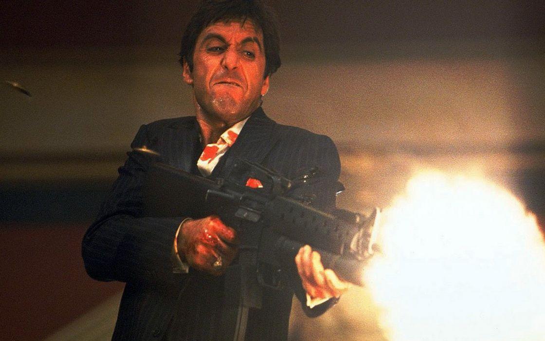 SCARFACE crime drama movie film weapon gun battle dark blood wallpaper