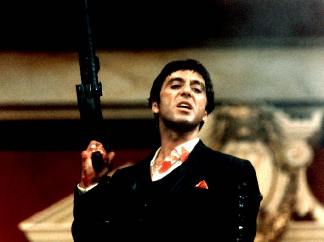 SCARFACE crime drama movie film weapon gun blood battle dark wallpaper