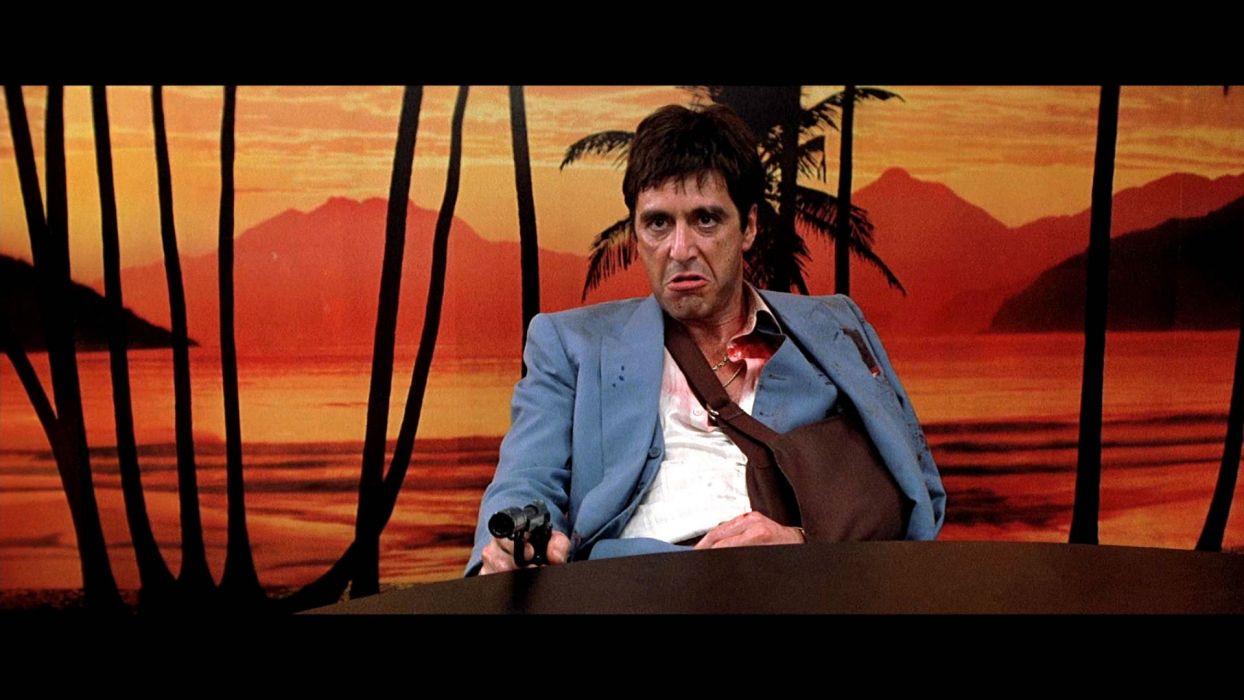 SCARFACE crime drama movie film weapon gun dark blood wallpaper