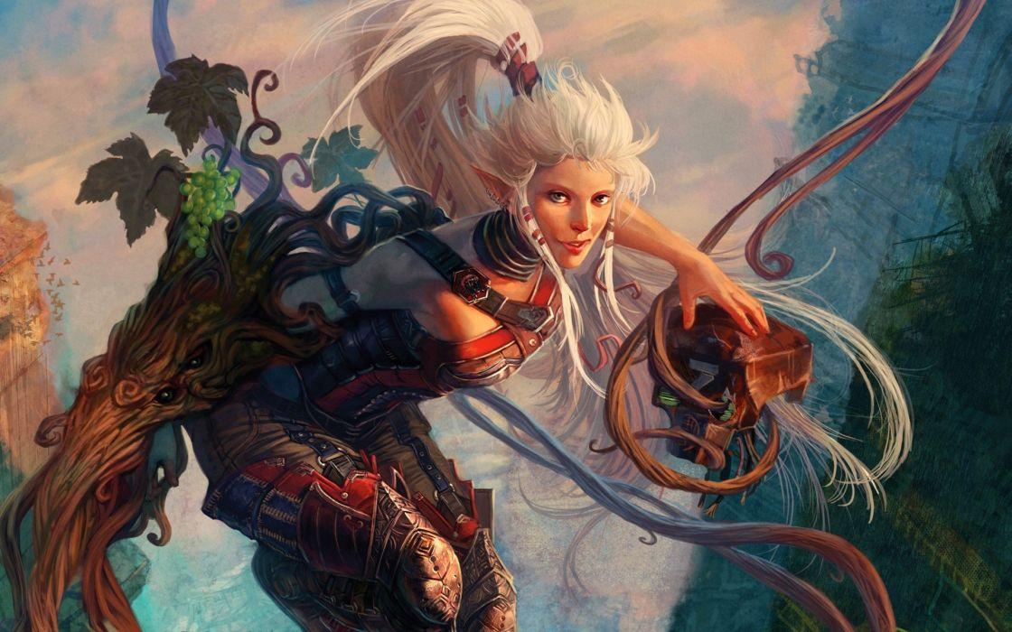 fantasy art elves artwork white hair long ears wallpaper