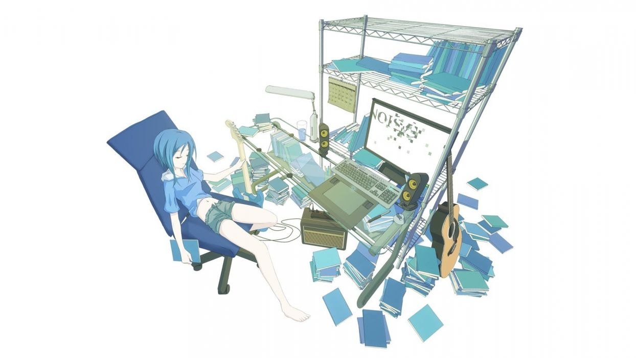 women blue computers keyboards speakers blue hair barefoot lamps books short hair instruments guitars calendar chairs sitting navel hoodies shorts closed eyes graphics tablets simple background anime girls white background shelves original characters wallpaper