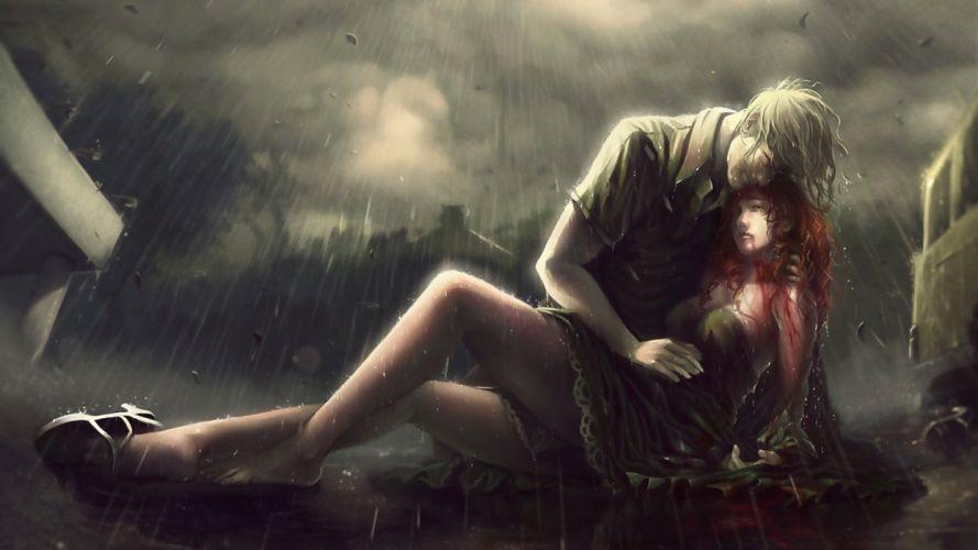 rain blood sad wallpaper