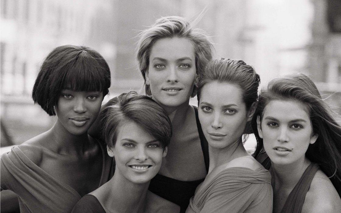 women vintage models grayscale Naomi Campbell Cindy Crawford Christy Turlington Linda Evangelista models wallpaper