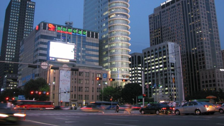 cityscapes skylines buildings skyscrapers Asians Asia Asian architecture Seoul city skyline South Korea citylife wallpaper