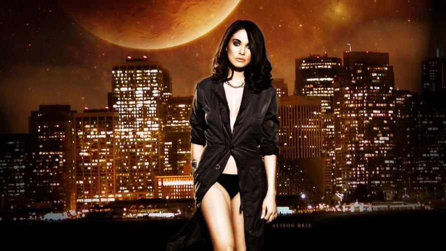 women Moon models Alison Brie faces cities black hair wallpaper