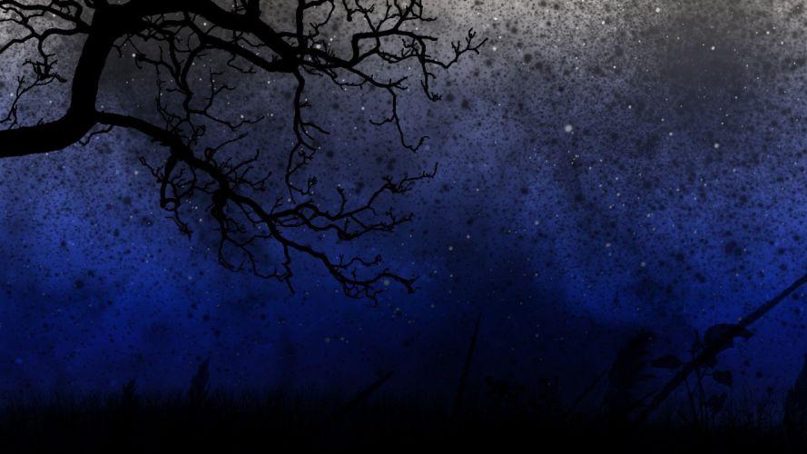 dark silhouettes night sky wallpaper