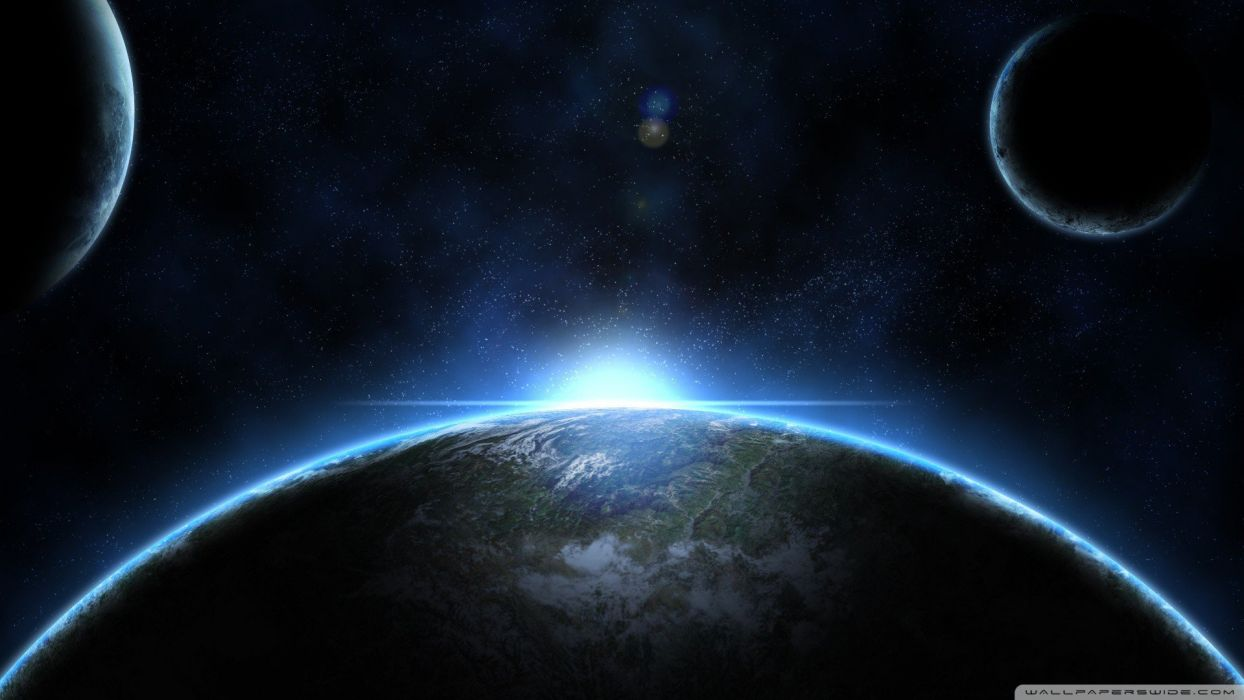Sun Outer Space Planets Moon Earth Wallpaper