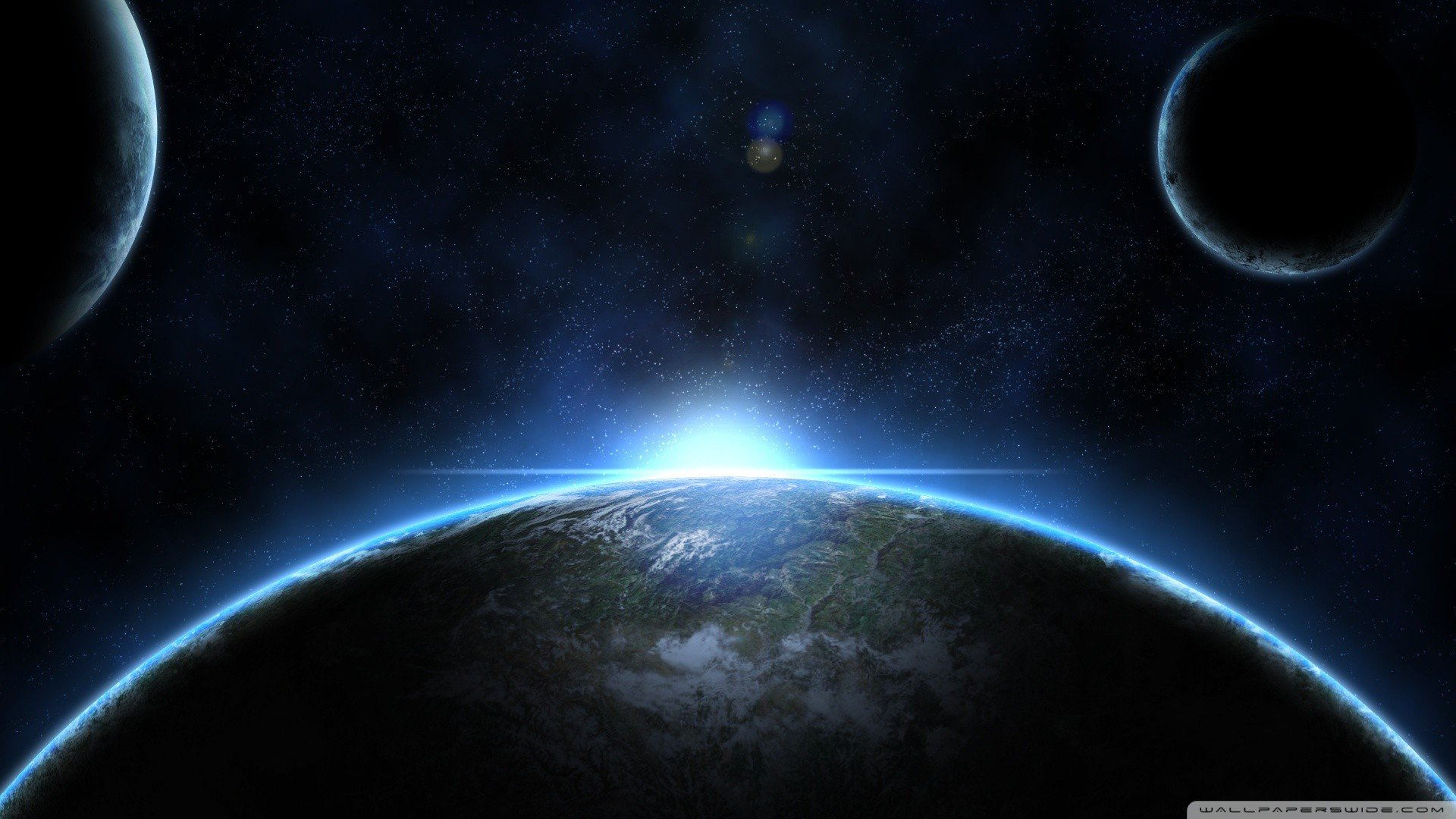 Sun outer space planets moon earth wallpaper 1920x1080 for Outer space planets