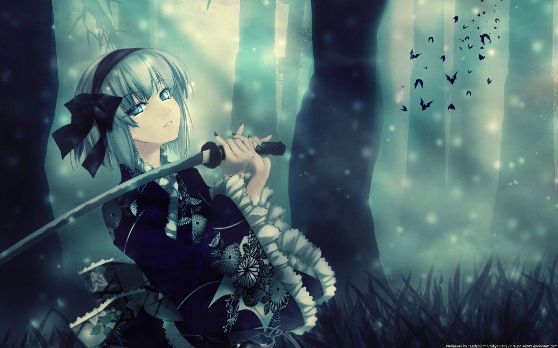 women blue eyes katana weapons anime white hair swords dark lady fur cap wallpaper