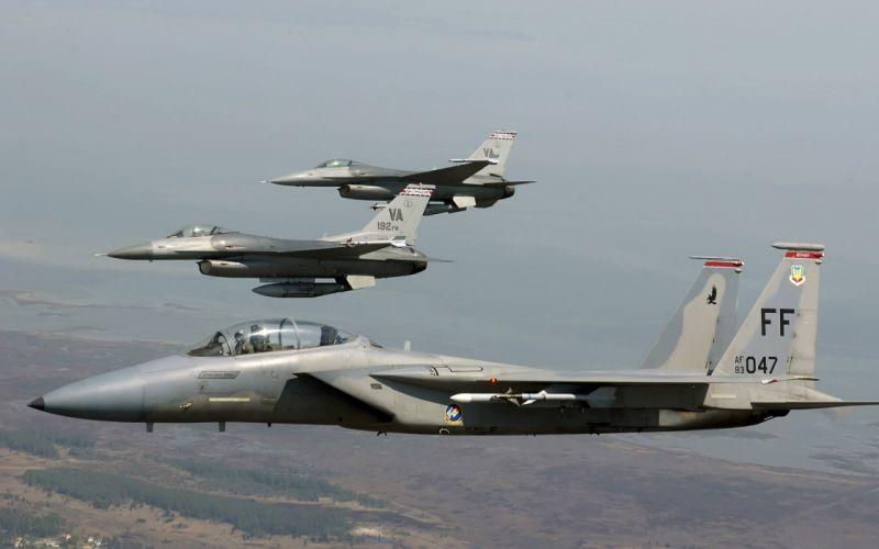 war airplanes F-15 Eagle F-16 Fighting Falcon wallpaper