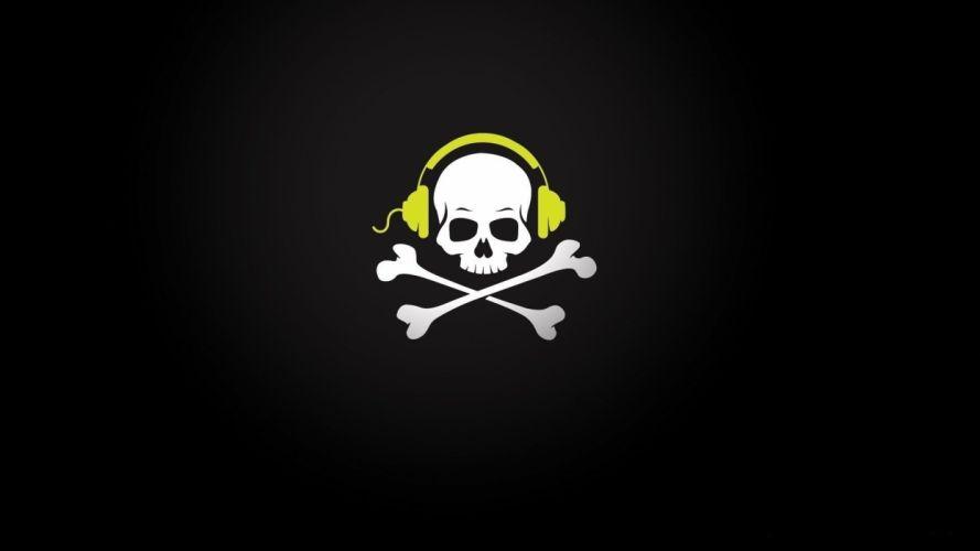 headphones skull and crossbones wallpaper